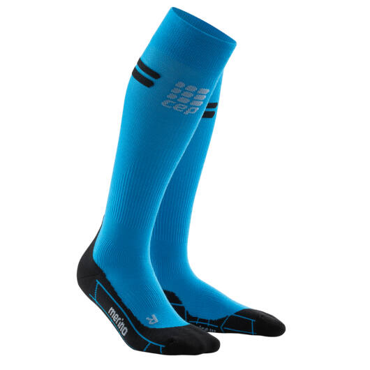 CEP Run merino socks gyapjú kompressziós futózokni női electric blue/black